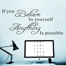 If You Believe Quote Black Art Wall Sticker Decals Removable Hoem Decor US STOCK