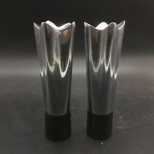 Used Nambe Metal Black Candle Holders Mid Century Modern