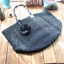 Elegant Black 3D Flower Straw Hand Crochet Handle Tote Shopping Bag L