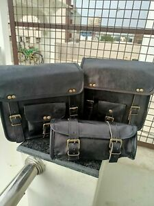 Genuine Black Leather COMBO 3 Motorcycle Saddle Bag Panniers Tool Pouch Side Bag