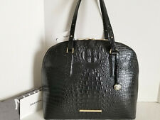 🌹Brahmin Cora XL Dome Satchel Croc Black Business Tote Leather Work Bag NWT