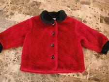 baby girls FAUX FUR RED BLACK COAT jacket WARM hearts DRESSY fancy 12 MONTHS