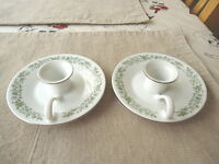 "Vintage Set Of 2 Mikasa Fine China Ceramic Candle Holder Saucers "" RARE BEAUTYS"