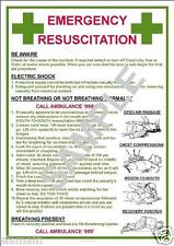 EMERGENCY FIRST AID RESUSCITATION ELECTRIC SHOCK OR NOT BREATHING A3 POSTER