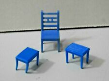 VINTAGE DOLLHOUSE PLASTIC BLUE BOX Chair & Two Unmarked Stools