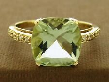 R193- Solid 9K Gold Natural Green Amethyst & Diamond Ring 10mm Cushion size M