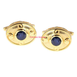 Natural Blue Sapphire Gemstone with 925 Sterling Silver Gold Finish Cufflinks