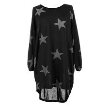 Plus Size Women Stars Print Batwing Lagenlook Tops Knit Tunic Loose Blouse Dress