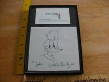 Walter Lantz Woody Woodpecker signed Sketch framed w/ business card 1990