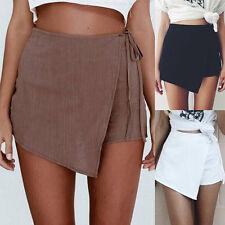 Womens Summer High Waist Asymmetrical Bandage A-line Skirt Casual Mini Skirt