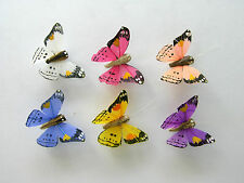 12 Orange Dot Feather butterflies, 6 assorted colours,