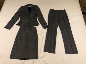 REVIEW Grey Herringbone Textured Jacket Blazer Skirt and Pant Suit sz 6 8