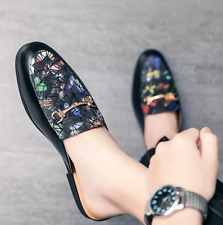 Leather Pointed toe Slippers Mens Shiny Patent Shoes Slip on Loafers Mules new#@