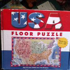 """Gigantic U.S.A. Floor Puzzle 22.5"""" x 36"""" More Than 60 Pieces Educational Fun"""
