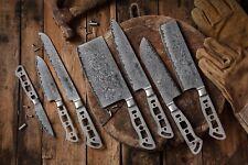 KATSURA Japanese Damascus AUS 10 woodworker Chef knife kit blank Set, 7pcs