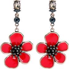 Pendientes Dorado Largo Flor Esmalte Rojo Cristal Gris Matrimonio XX22