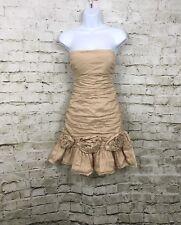 BCBGMaxazria Dress Strapless Ruched Minidress Tan Beige SZ 4