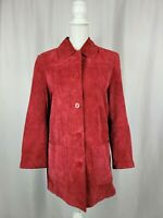 AR Bernardo Fashions Womens Size Small Red Suede Leather Button Down Jacket