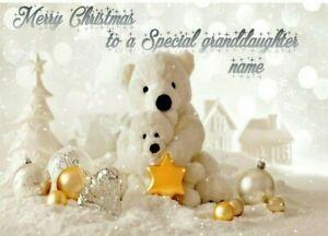 cute bear Personalised Christmas Card granddaughter, grandson, daughter, son