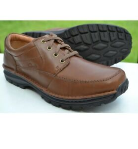Clarks Mens Active Air Shoes SIDMOUTH MILE Brown Leather UK 11 / 46 WIDE FIT