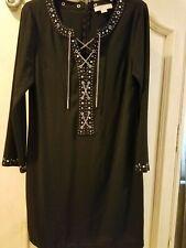 Micheal Kors Mk Black Dress Silver chain  Lace Up NWOT Size M