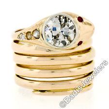 Antique Victorian 14k Yellow Gold 1.25ctw European Diamond Ruby Snake Wrap Ring