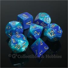 NEW 7pc Set Blue Teal Gemini Dice in Box RPG Game D&D 7 piece Chessex D20 D12 +