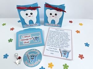 Personalised Tooth Fairy Letter And Gift, Gift Bags, Sticker, First Tooth, Blue