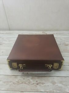 Brown Leatherette Chess Set Storage Carrying Box