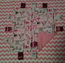 Girl White with Pink Paris Theme Cotton/Minky Baby Tag Ribbon Security Blanket