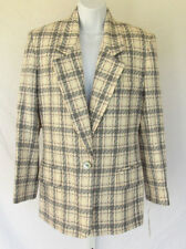 NEW WITH TAGS JH COLLECTIBLES WOOL BLAZER JACKET SIZE 4 MAUVE GRAY WHITE CHECKER