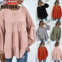 Womens Long Sleeve Frill Ruffle Tops Ladies Casual Loose Pullover T-Shirt Blouse