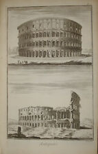 """Stampa antica """"Colosseo"""" Diderot D'Alambert Roma Rome Colosseum old print"""