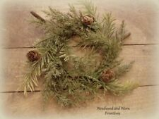 """Primitive Country Faux Variegated Prickly Pine 9 - 10"""" Christmas Candle Ring"""