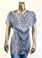CHICO'S *NWT 3 (XL) BLACK WHITE GEO DOLMAN SLV TUNIC