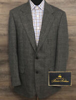 Brooks Brothers Men's Gray Wool Herringbone Plaid Blazer Sport Coat Jacket 39R