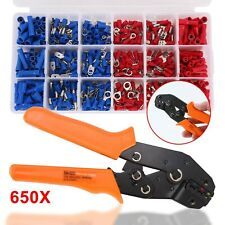 Terminal Kit Connector Electrical Stripper 650 Wire Ratchet Crimp Plier Tool Set