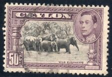 Ceylon 50 cent used Stamp, George VI dating from 1938. Wild Elephants SG-394