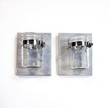 Set of 2 Glass Mason Jar Planters Candle Holders W/ Rustic Gray Wood Wall Mount
