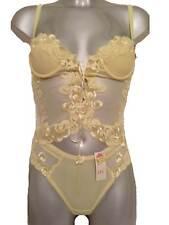 New Yellow Camisole & Thong Set UK 8 - 10 Sheer Sexy Lace Ladies Lemon Padded