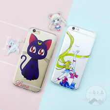 Cartoon Cute Girl Cat Sailor Moon Soft Case Cover for iPhone 5 5S SE 6S 7 8 Plus