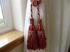 Add BEAUTY to Your DRAPERY with This RED & GOLD Double Tassel Tieback