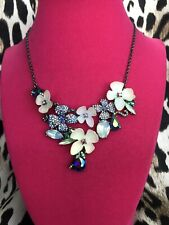 Betsey Johnson Fairy Forest Blue AB Flower Iridescent Lucite Floral Necklace