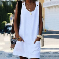 Women Fashion Strap Dress Sleeveless Cotton O-neck Summer Button Casual Solid