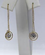 Vintage 14K Yellow Gold CZ Threader Pierced Earrings