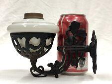 Rare c.1900's Miniature Cast Iron Wall Bracket w/ Milk Glass Oil Lamp Font NR EX