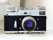 Rare LENINGRAD GOMZ RANGEFINDER Soviet Film Camera w/s lens Jupiter 8 AS IS