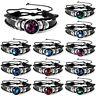 Fashion Unisex 12 Constellation Zodiac Round Pendant Leather Bangle Bracelet Hot