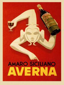 170067 Amaro Siciliano Averna Red Wine Italia Drink Decor LAMINATED POSTER AU