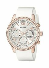 GUESS Womens U0616L1 White Silicone & Rose Gold-Tone Multi-Function Watch